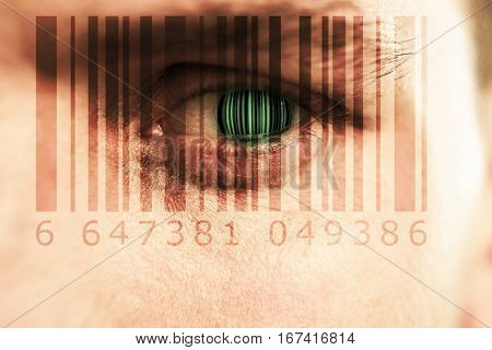 Composite image of Bar code against close up of man with blue eye