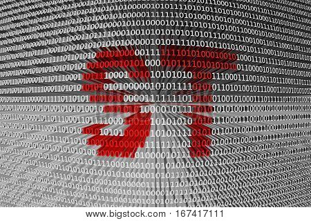 ST in the form of binary code, 3D illustration