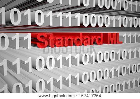 Standard ML as a binary code 3D illustration
