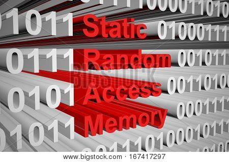 static random access memory as a binary code 3D illustration