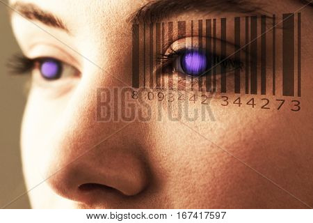 Composite image of Bar code against beautiful eye of woman