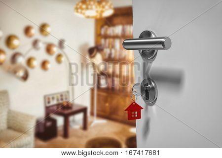 Digitally generated image of doorknob against view of studio