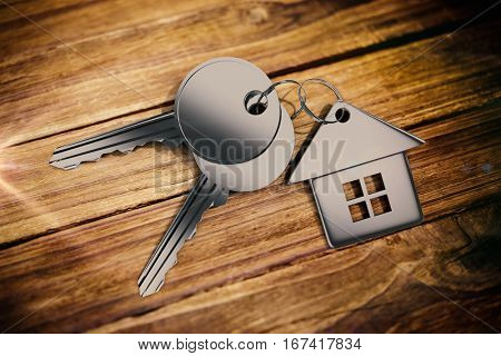 Metallic key with home ring against textured wooden floor