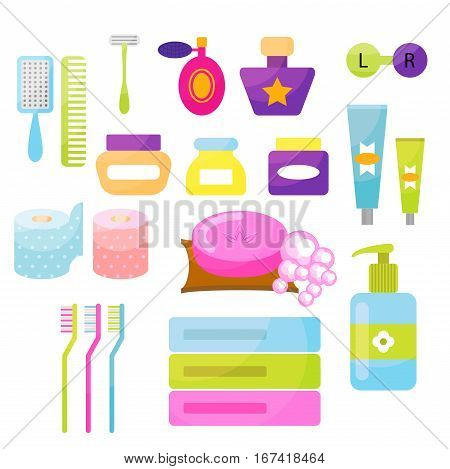 Personal hygiene cartoon vector items. Colorful toiletry objects for bath use.