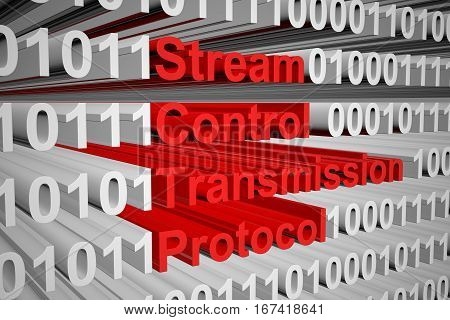 Stream Control Transmission Protocol in the form of binary code, 3D illustration