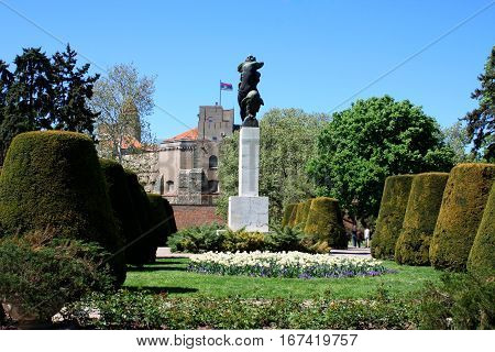 Belgrade Serbia: aug 21. 2016 - The Monument of Gratitude to France at Kalemegdan Park Belgrade Serbia