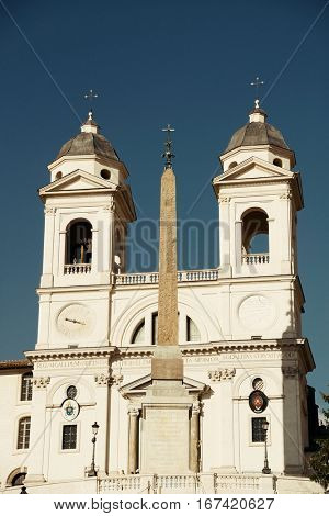 Trinita Dei Monti church at top of Spanish Steps in Rome, Italy.