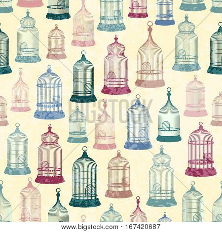 Seamless background pattern. Pattern of vintage silhouettes cages for birds
