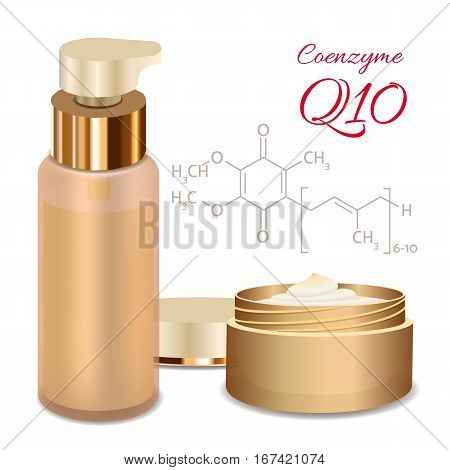 Skin Cream and Emulsion with Coenzyme Q10. Chemical Formula. Collagen Solution. Supreme Collagen Serum Essence. Vector Illustration. Used for Medicine Banner, Poster, Cosmetics Advertising.