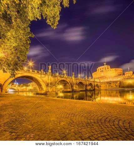 Night view of Sant'Angelo castel, Rome, Italy