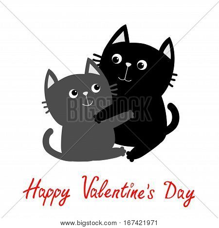 Black Gray Cat hugging couple family. Hug embrace cuddle. Cute funny cartoon character. Happy Valentines day Greeting card. Kitty Whisker Baby pet White background. Isolated. Flat Vector