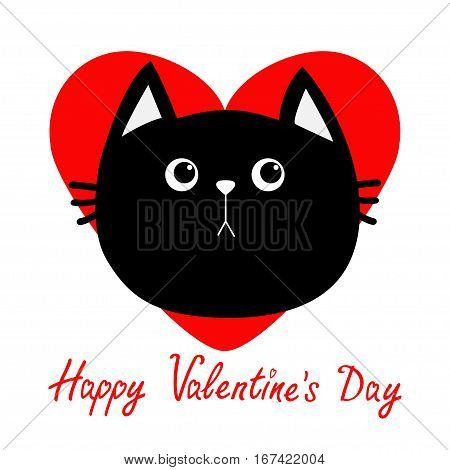 Black cat head icon. Red heart. Cute funny cartoon character. Happy Valentines day Greeting card. Sad emotion. Kitty Whisker Baby pet collection. White background. Isolated. Flat design. Vector