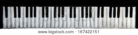 watercolor sketch of piano keyboard in white background