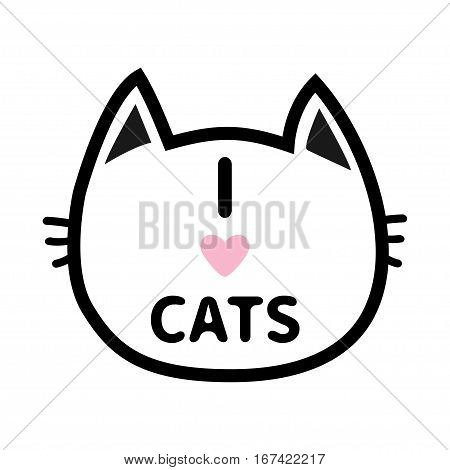 I love cats heart Text lettering. Black cat head face contour silhouette icon. Line pictogram. Cute funny cartoon character. Kitty kitten whisker Baby pet White background. Isolated Flat design Vector