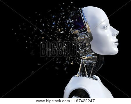 3D rendering of the head of a female robot. The head is breaking apart. Black background.