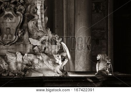 Pantheon at night with fountain. It is one of the best-preserved Ancient Roman buildings in Rome, Italy.
