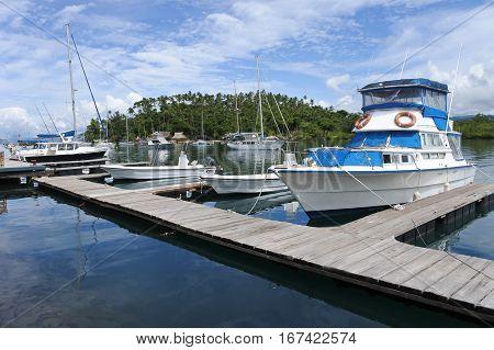 Yachts Mooring Over Nakama Creek In Savusavu Fiji