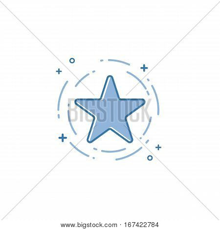 Vector illustration of flat bold line star icon. Graphic design concept of favorite sign. Use in Web Project and Applications. Blue outline isolated object.