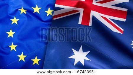 Flags of the Australia and the European Union. Australia Flag and EU Flag. World flag concept