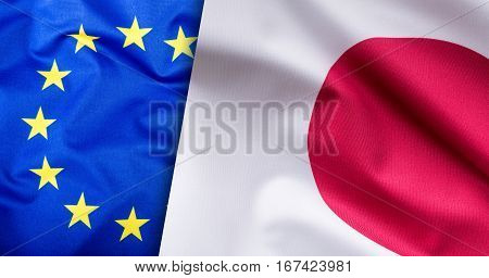Flags of the Japan and the European Union. Japan Flag and EU Flag. World flag concept.