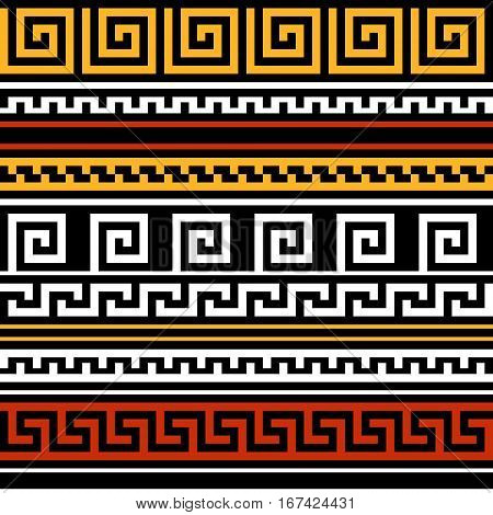 Black red yellow and white geometric greek meander traditional seamless pattern, vector background