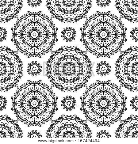 Mandala. Coloring page. Vector seamless pattern with ethnic tribal mandala. Hand drawn doodle mandala with ornament. Anti stress coloring page for adult book. Black and white illustration.