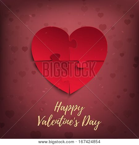 Happy Valentines Day, greeting card template. Jigsaw puzzle pieces in form of red heart, on pink background. Vector illustration.
