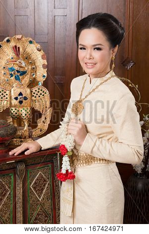 Beautiful Thai Woman Wearing Thai Traditional Culture Cloth. Thai Ancient Culture.
