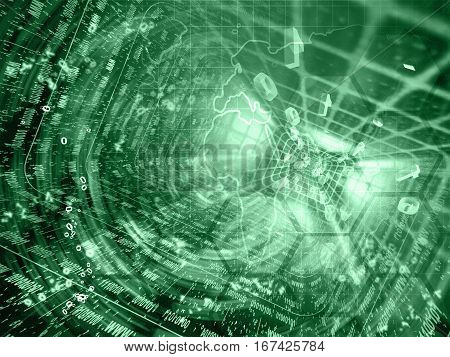 Computer background in greens with map tunnel and digits.