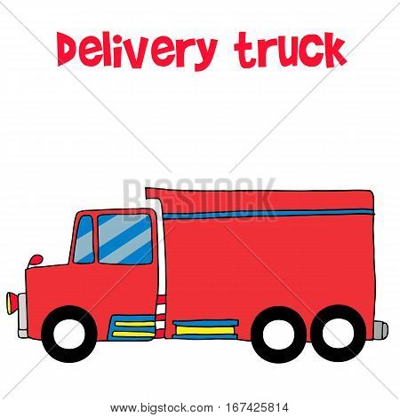 Red delivery truck vector art collection stock