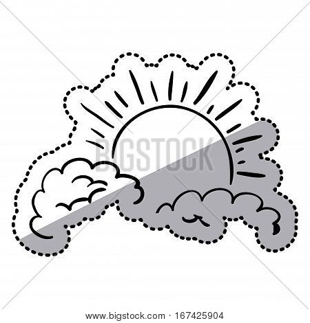 sticker contour clouds in heaven with sun vector illustration