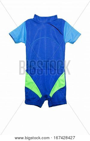 Blue child swimsuit isolated on a white background.