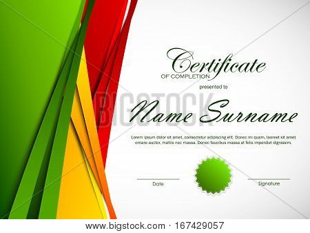 Certificate of completion template with colorful cut paper background and green seal. Vector illustration