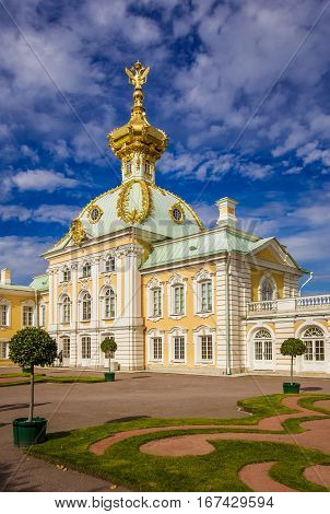 Grand Peterhof Palace corps under the arms built by architect Rastrelli September 14 2016 St. Petersburg Russia