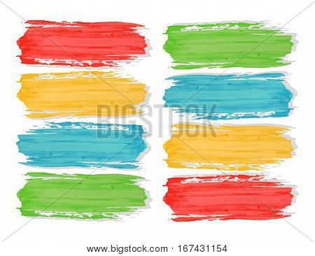 Colorful watercolor brush strokes paint on the white background. Stock Illustration