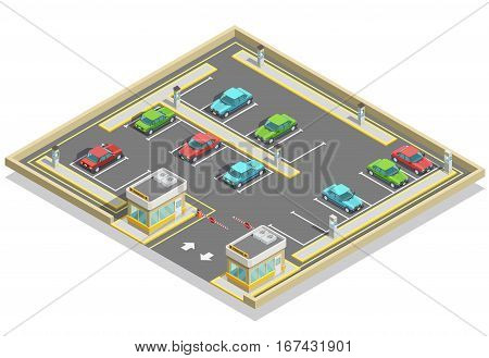 Parking zone isometric location with colorful cars many lots and access control vector illustration