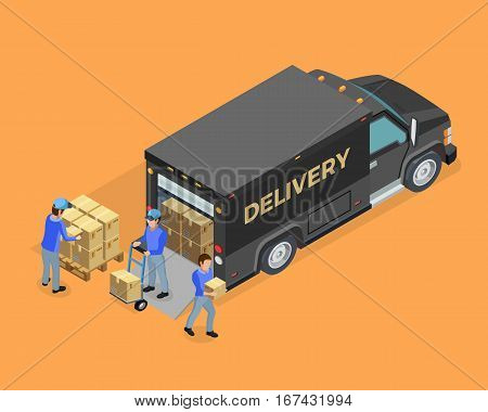 Unloading isometric concept with truck boxes and loaders on orange background isolated vector illustration