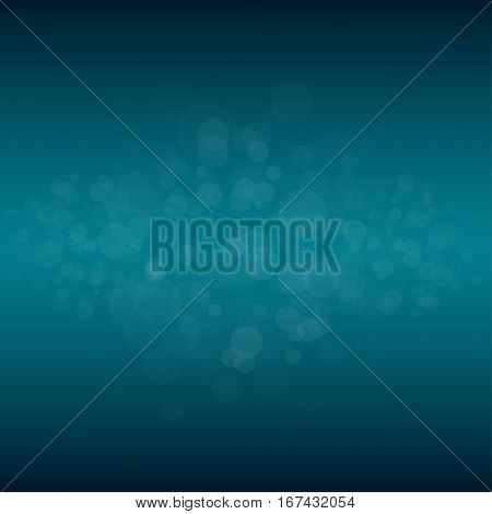 Abstract blue bokeh background. Vector illustration. Water drops. Dust. Bubbles.