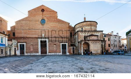 Front View Of Cathedral And Baptistery In Padua