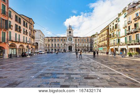 Tourists On Piazza Dei Signori In Padua City