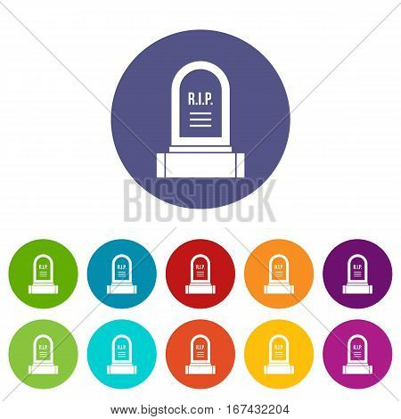Headstone set icons in different colors isolated on white background