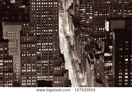 New York City Fifth Avenue rooftop view at night