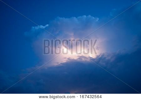 Lightnings In Storm Clouds. Peals Of A Thunder And The Sparkling Lightnings In Clouds