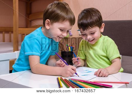 Kids Drawing Together At Home