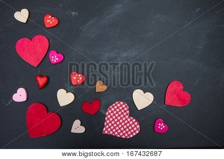 Multi-colored Hearts: Red, Pink, White On Blackboard