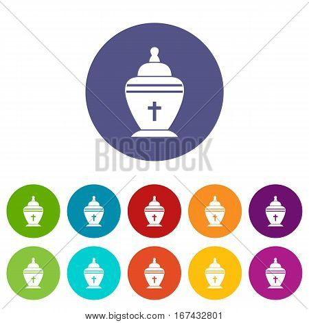 Urn set icons in different colors isolated on white background