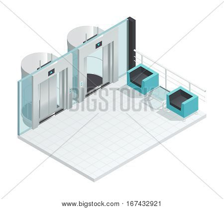 Elevator lift isometric interior with contemporary style lift hall two chairs glass partition and metal cabins vector illustration
