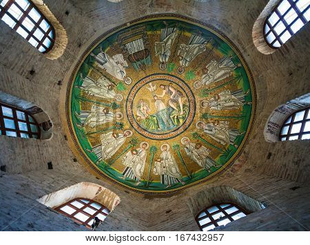Ceiling Mosaic In Arian Baptistery In Ravenna