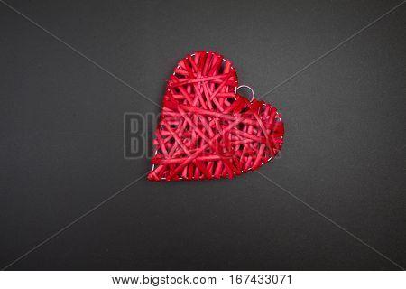 Red Wicker Heart On Blackboard. Postcard To Valentines Day.