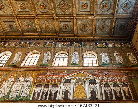 Palace Of Theodoric In Mosaic In Ravenna